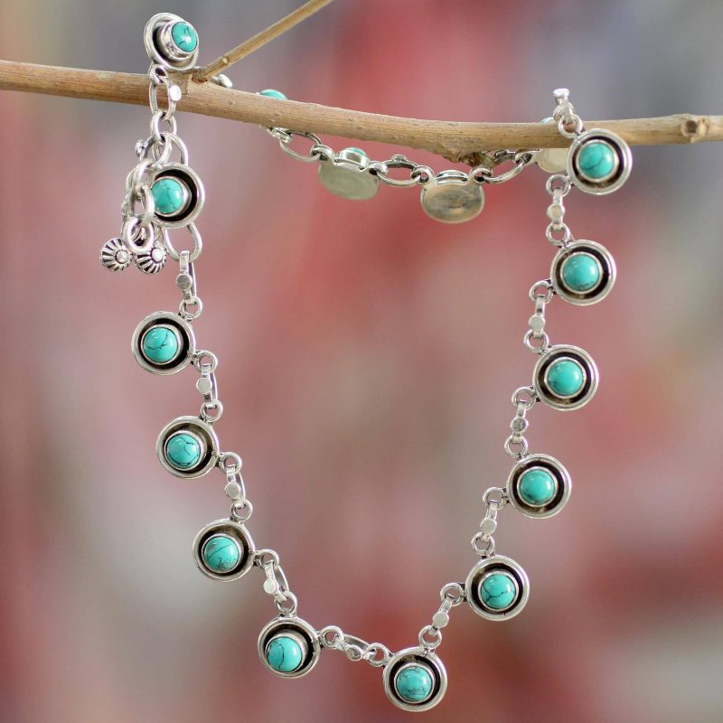 India Trends Fair Trade India Ankle Jewelry Turquoise and Sterling Silver, anklets, sterling silver anklets Breathtaking Sterling Silver Jewelry