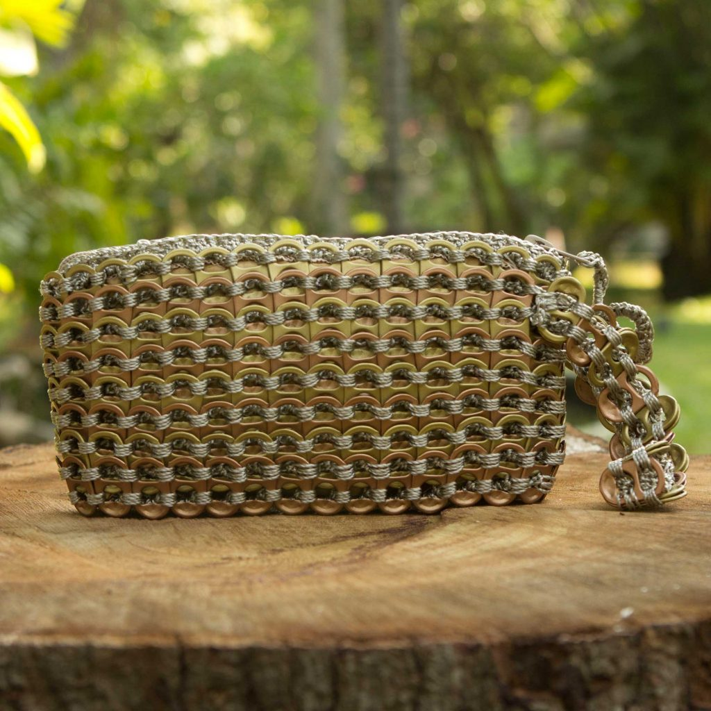 Copper Bronze Eco Chic Hand Crocheted Recycled Soda Pop-top Wristlet Bag Go eco-friendly