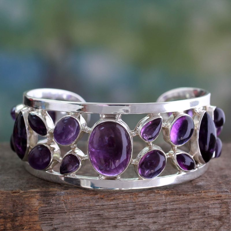 Amethyst Studded Sterling Silver Cuff Bracelet from India. bracelets special valentine's day gifts
