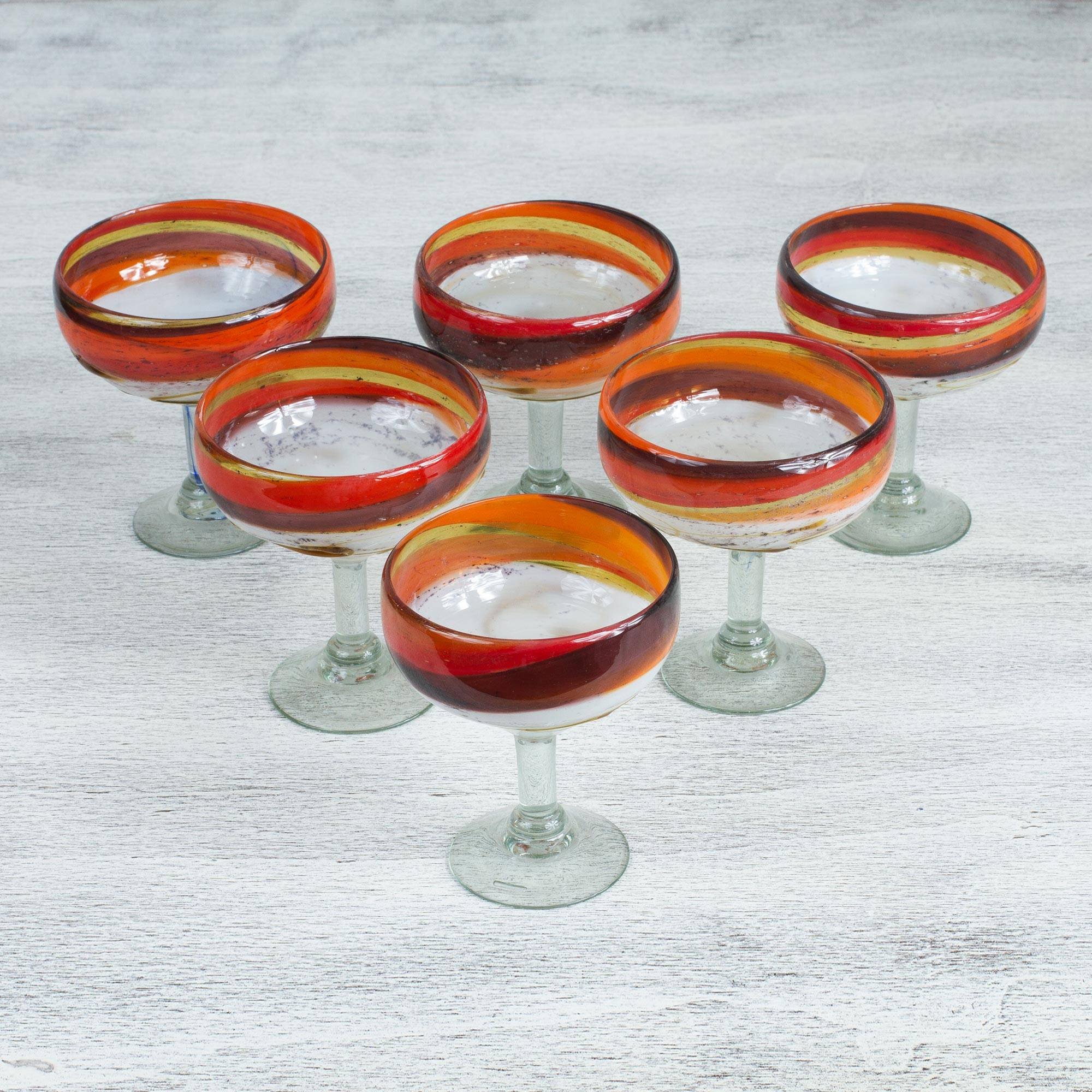 Caramel Fantasy Hand Crafted Blown Glass Brown Margarita Glasses (Set of 6) essential glassware for your home bar
