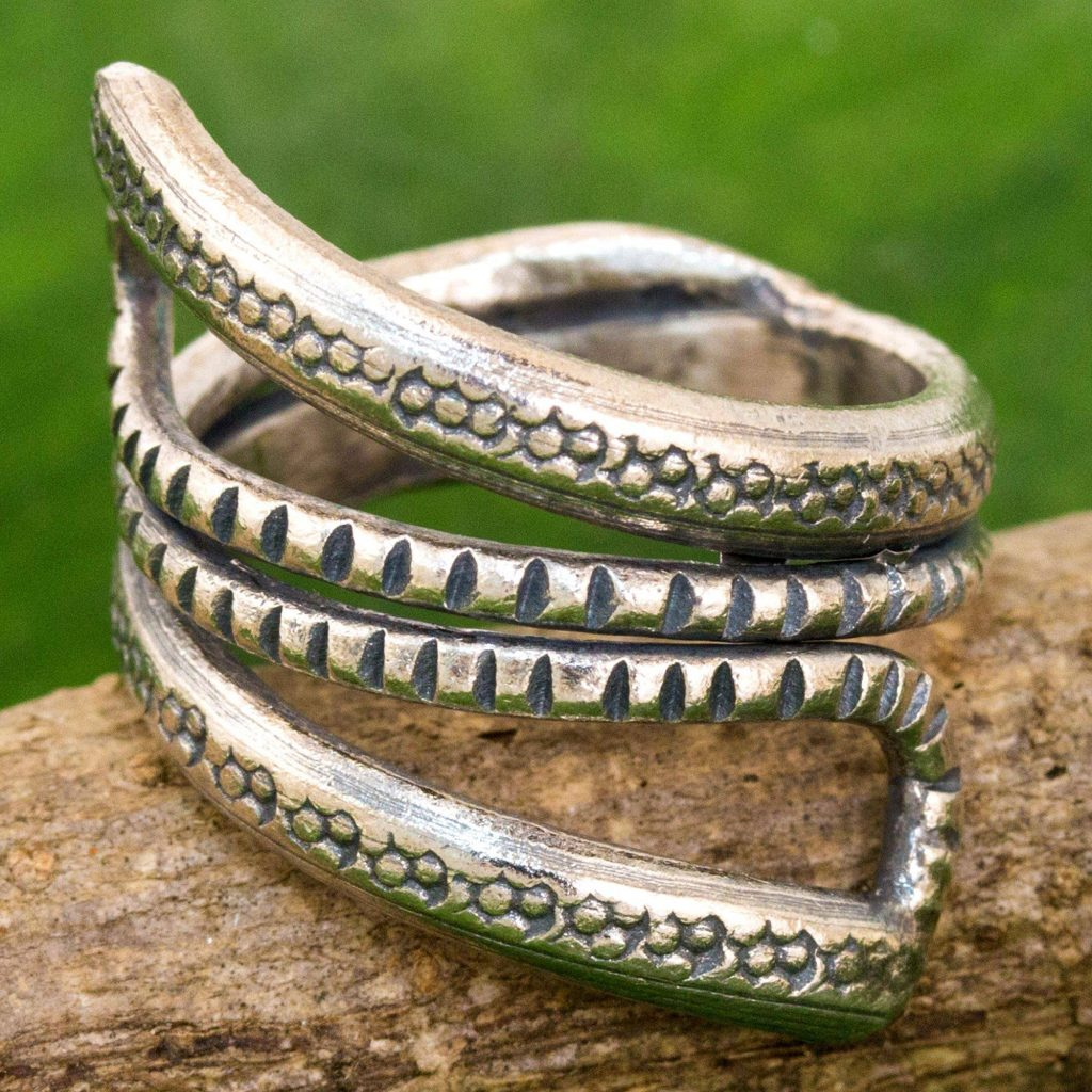 Dark Snake Path Sterling Silver Wrap Ring Karen Tribe from Thailand Saint Patrick's Day