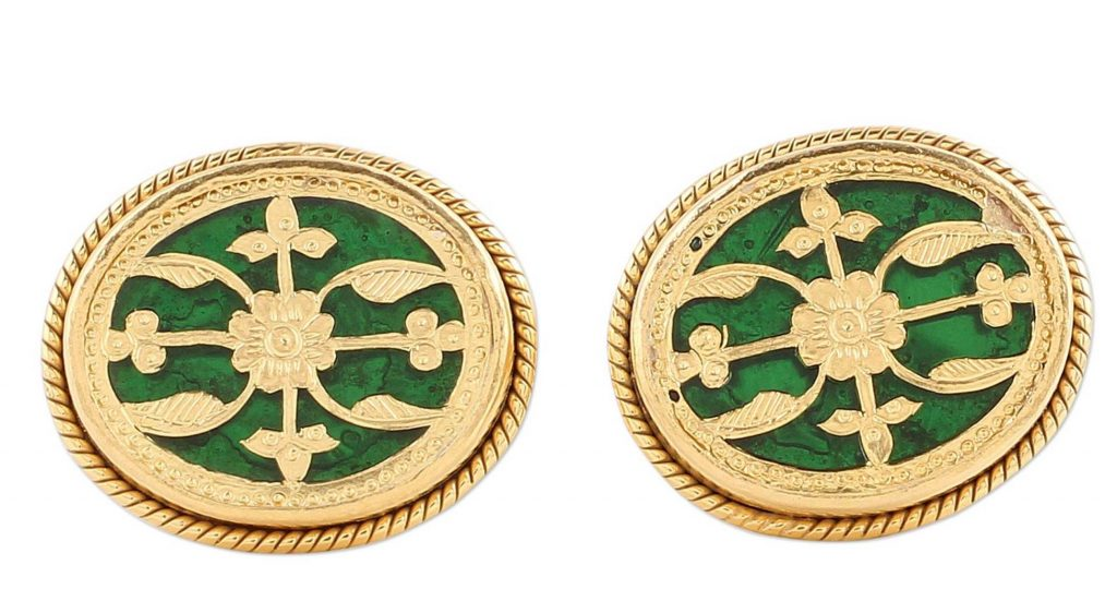 Wonderful Green Gold Plated Green Glass Floral Cufflinks from India Saint Patrick's Day