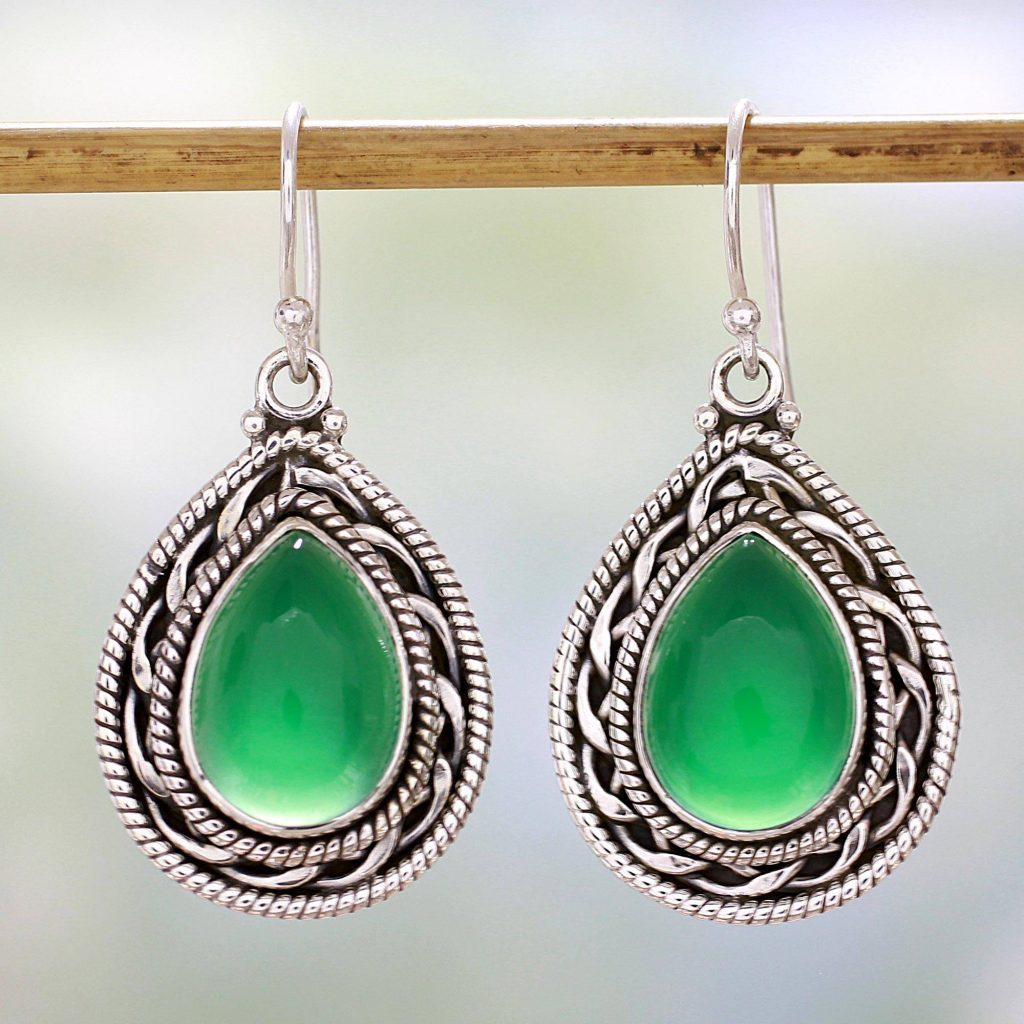 Green Palace Memories Handcrafted Sterling Silver and Green Onyx Dangle Earrings Saint Patrick's Day
