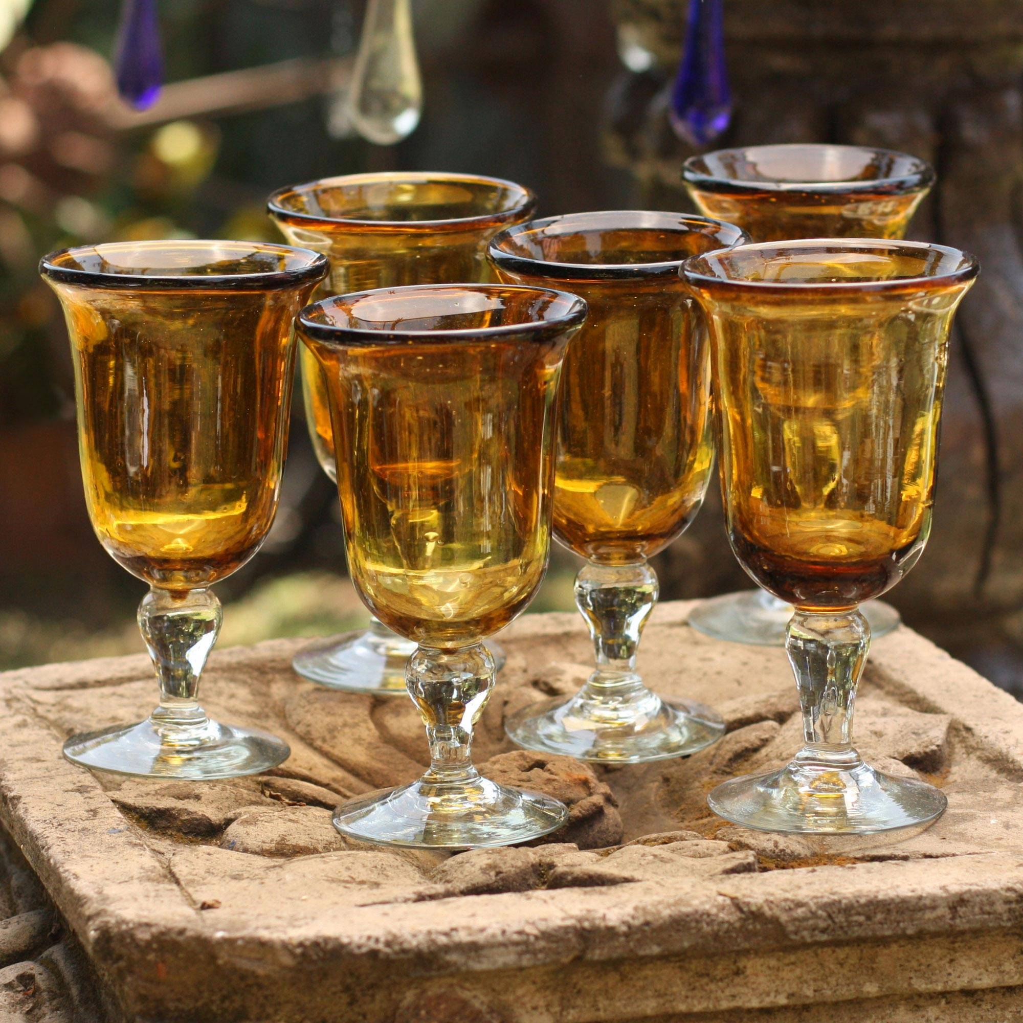 Golden Amber Hand Blown Goblets Glasses Set of 6 Mexico essential glassware for your home bar