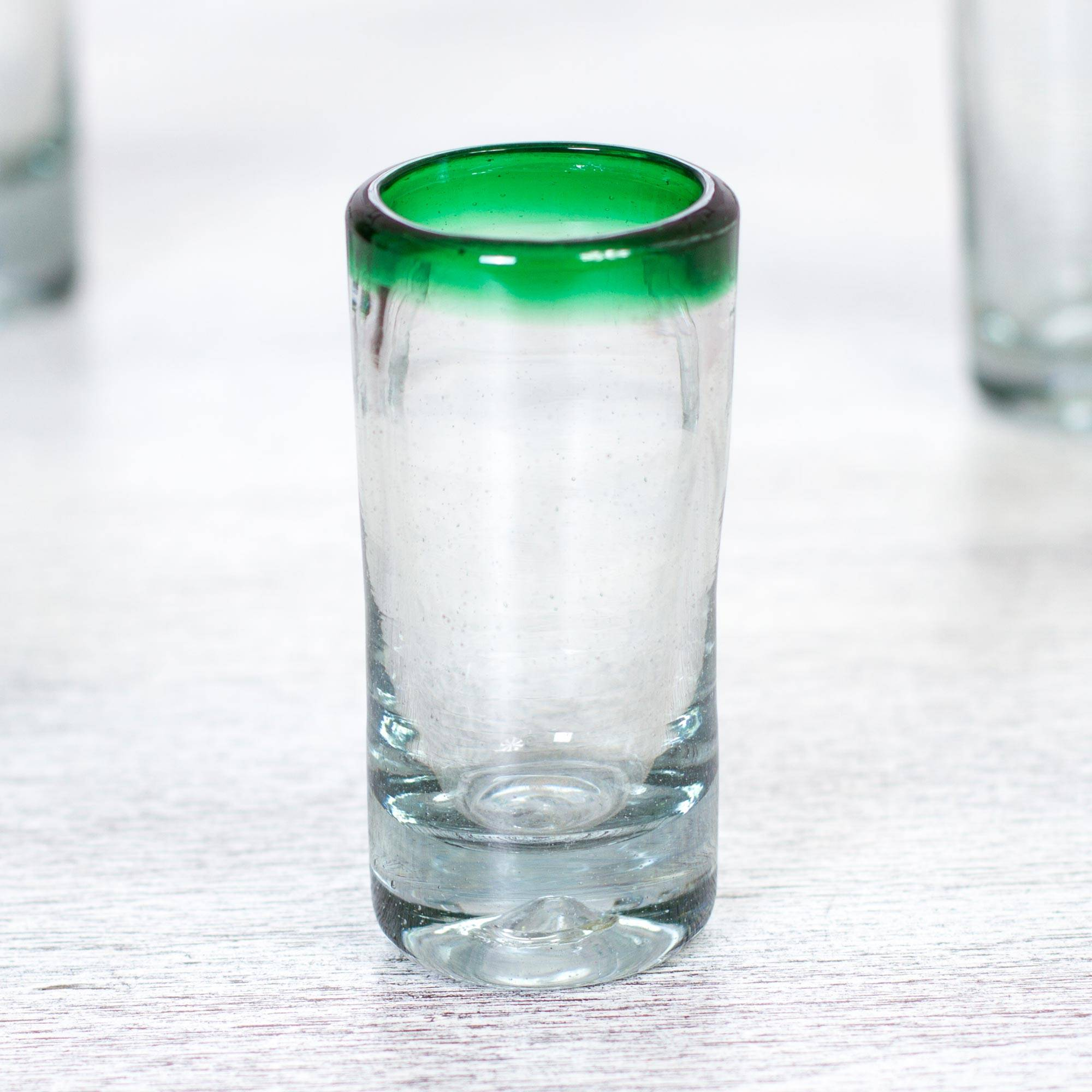Hand Blown Shot Glasses Set of 6 Clear with Green Rim Mexico essential glassware for your home bar
