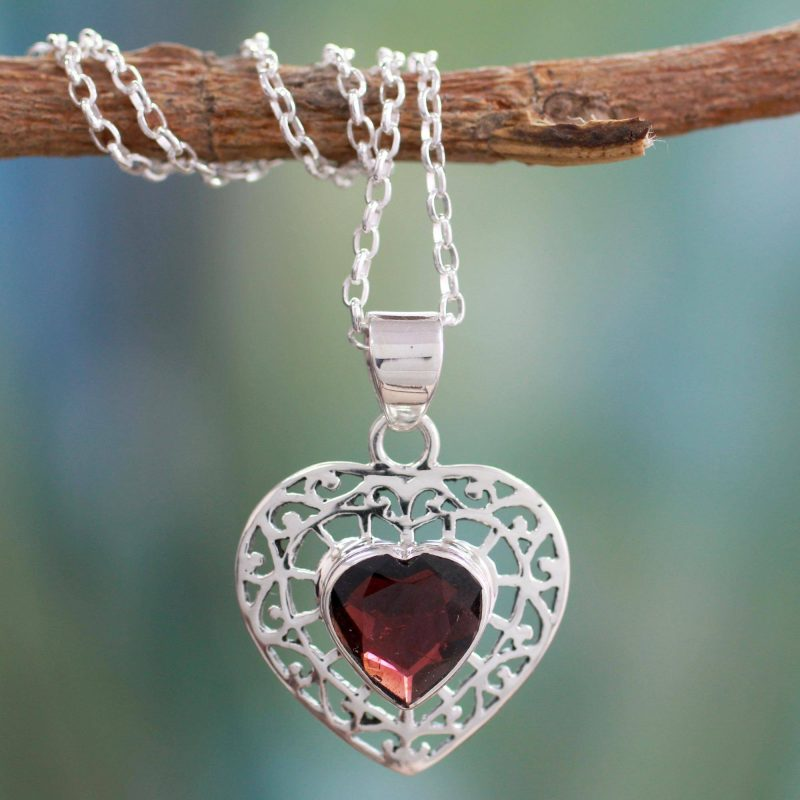 Mughal Romance Garnet and sterling Silver Heart Pendant Necklace Special Valentine's Day Gifts