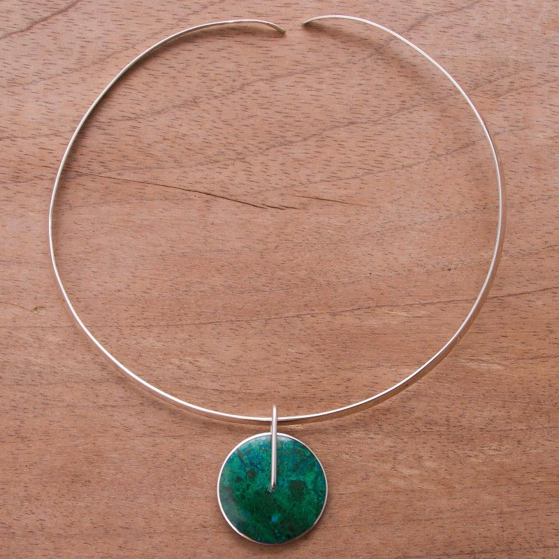 Magic Circle Chrysocolla Choker Silver 950 Necklace from Peru. necklaces, chokers special valentine's day gifts Fine sterling silver