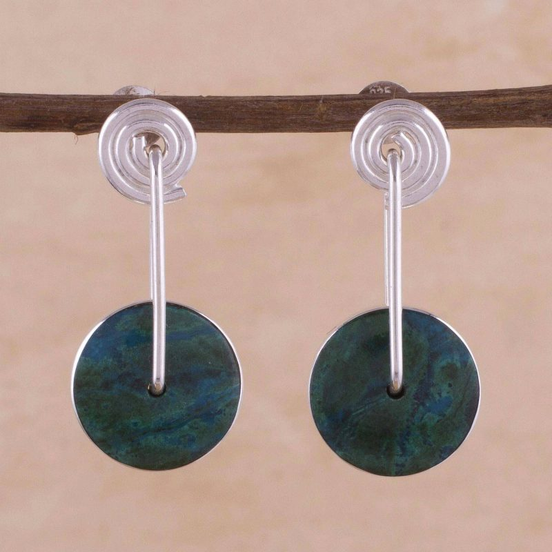 Modern Sterling Silver Chrysocolla Drop Earrings, sterling silver earrings special valentine's day gifts