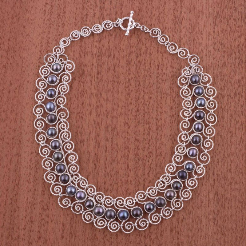 Princess Lace Unique Fine 950 Silver Pearl Statement Necklace special valentine's day gifts