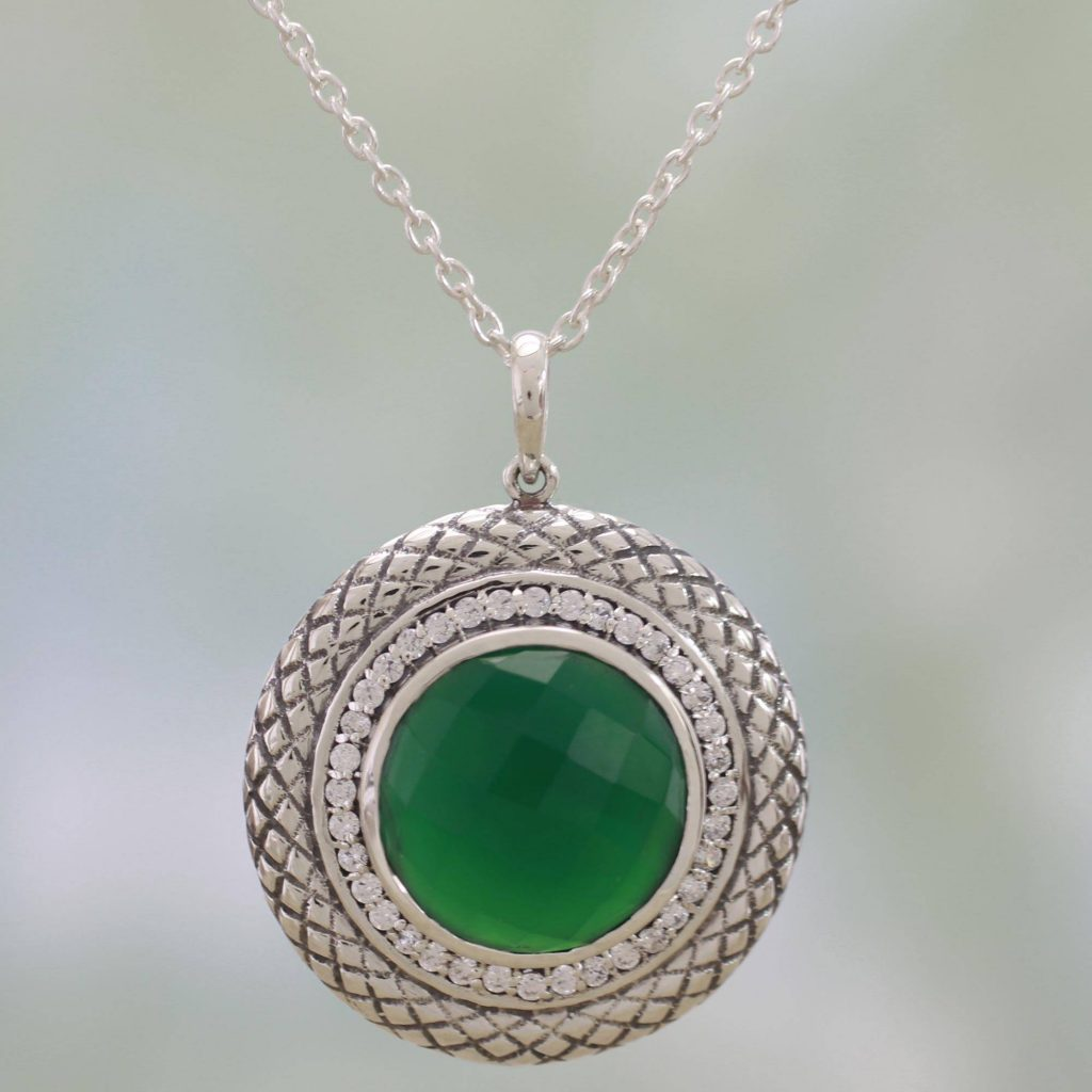 Visions of Green Sterling Silver and Green Onyx Pendant Necklace from India Saint Patrick's Day