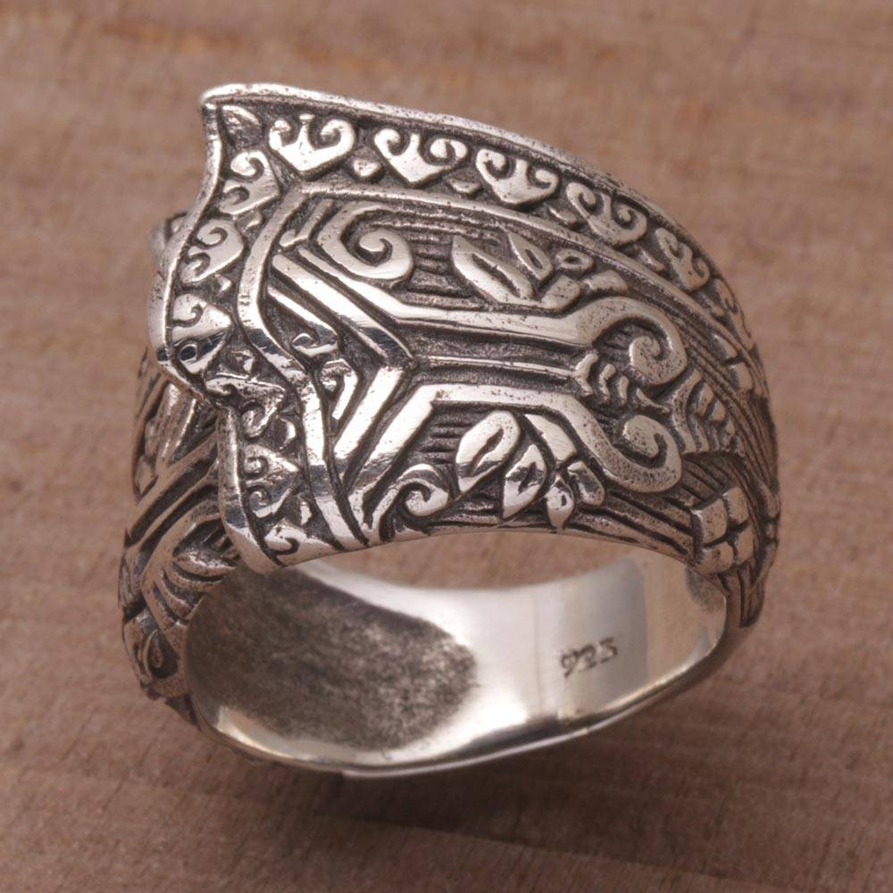 Songket Knot Sterling Silver Cultural Cloth Cocktail Ring Bali ethnic jewelry