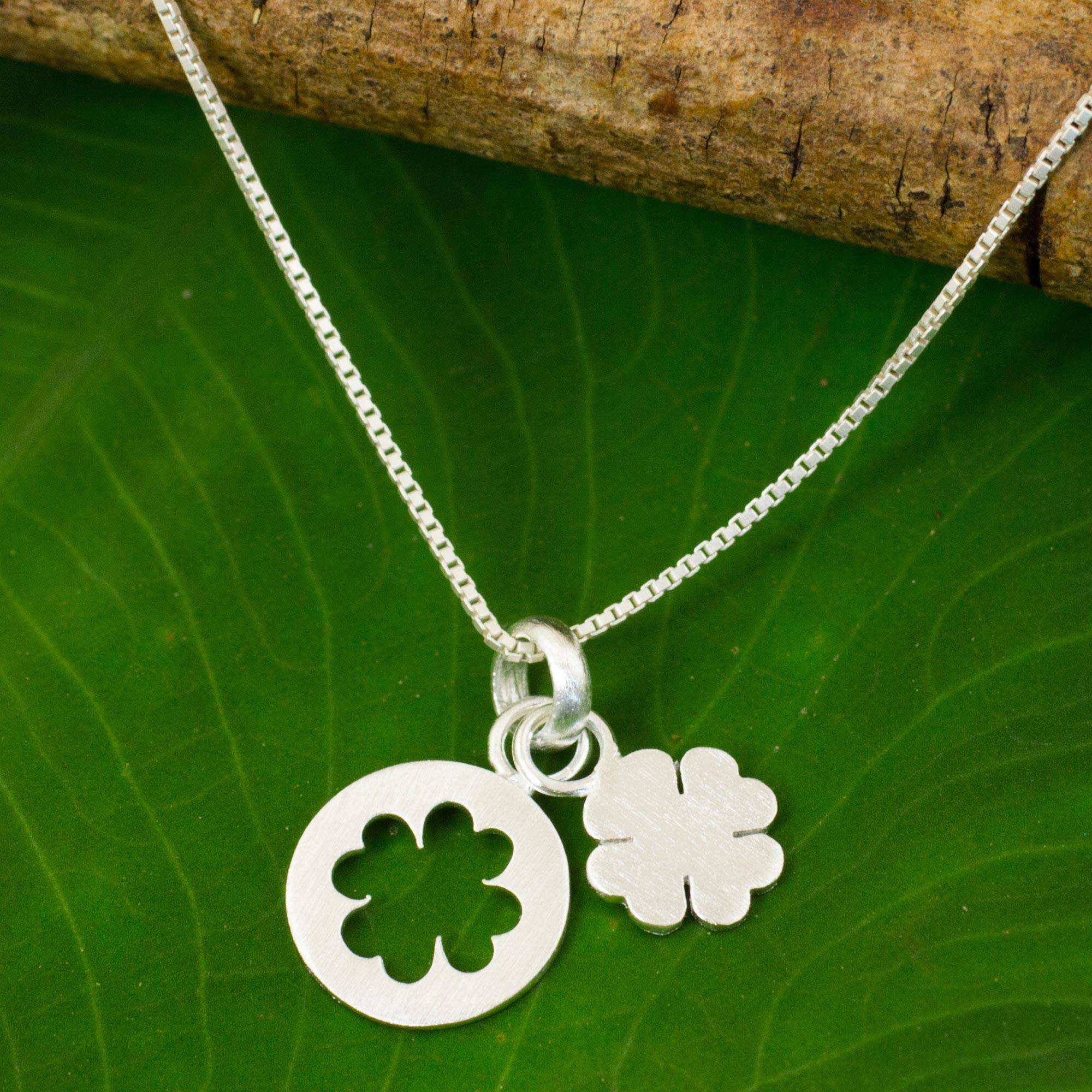 Sterling silver pendant necklace 'Four Leaf Clover' Celebrate St. Patrick's Day
