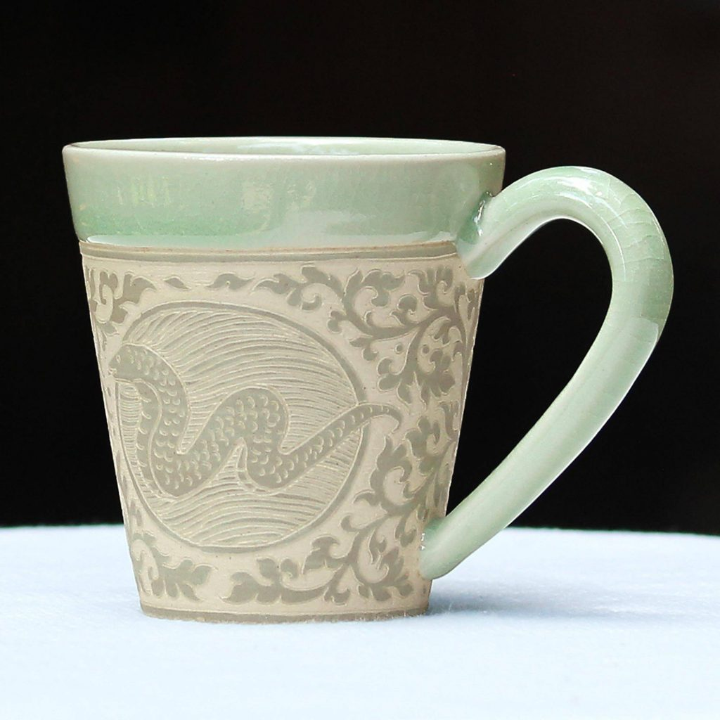 Thai Zodiac Snake Hand Crafted Green Ceramic Mug with Snake from Thailand Saint Patrick's Day