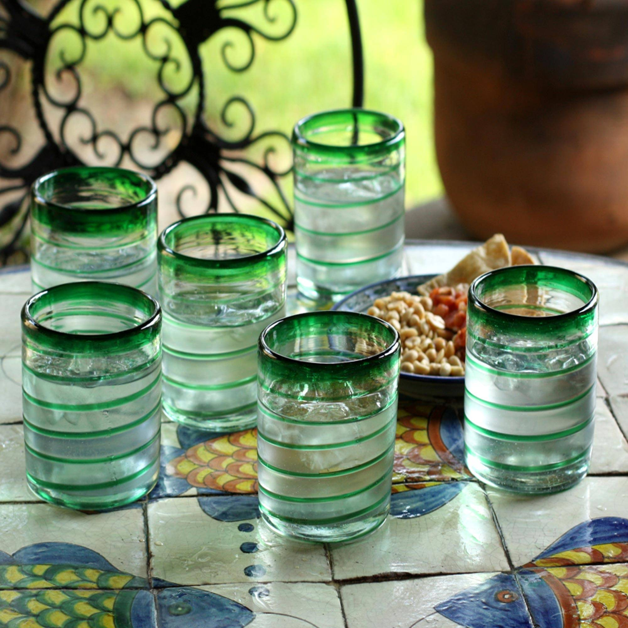 Tumblers, 'Emerald Spiral' (set of 6) Glassware for Your Home Bar