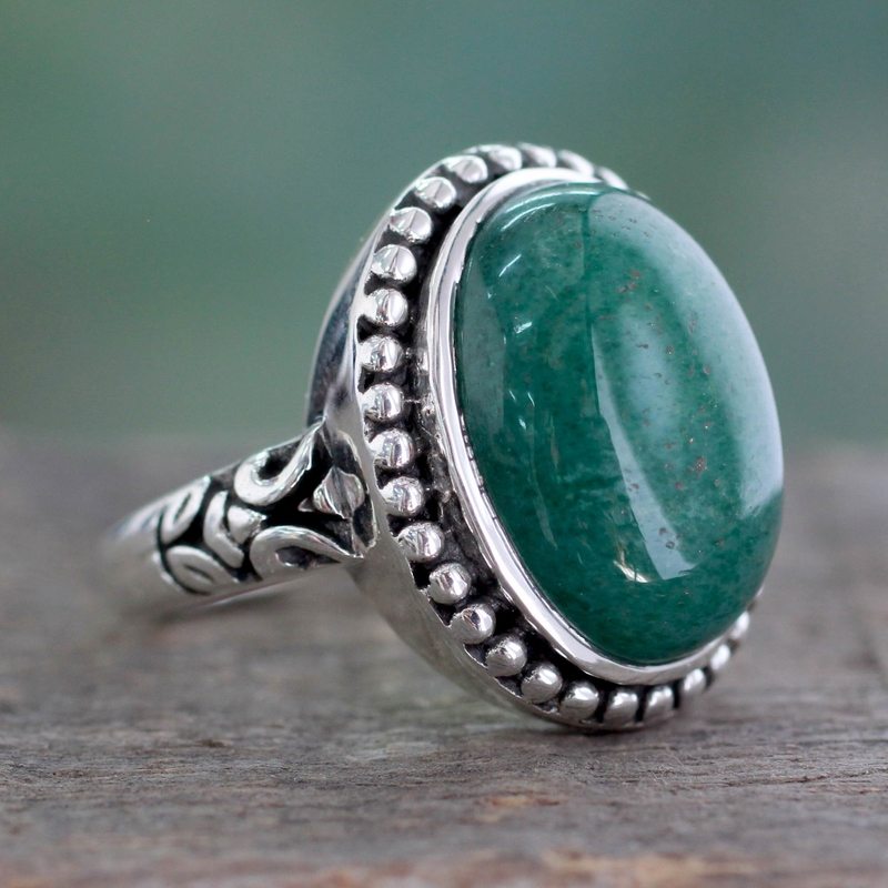 Women's Green Jade and Silver Cocktail Ring from India