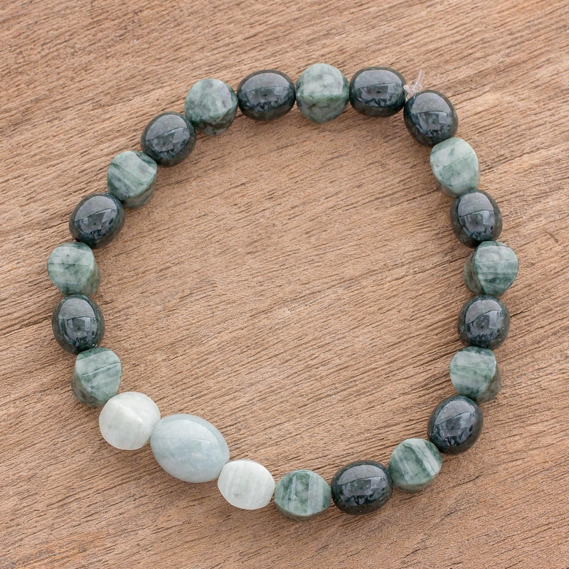 Handcrafted Three Shades of Jade Beaded Stretch Bracelet Jade: the magical gemstone