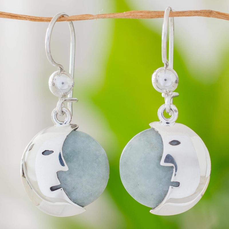 Jade dangle earrings Face of the Moon sterling silver dangle Jade: the magical gemstone