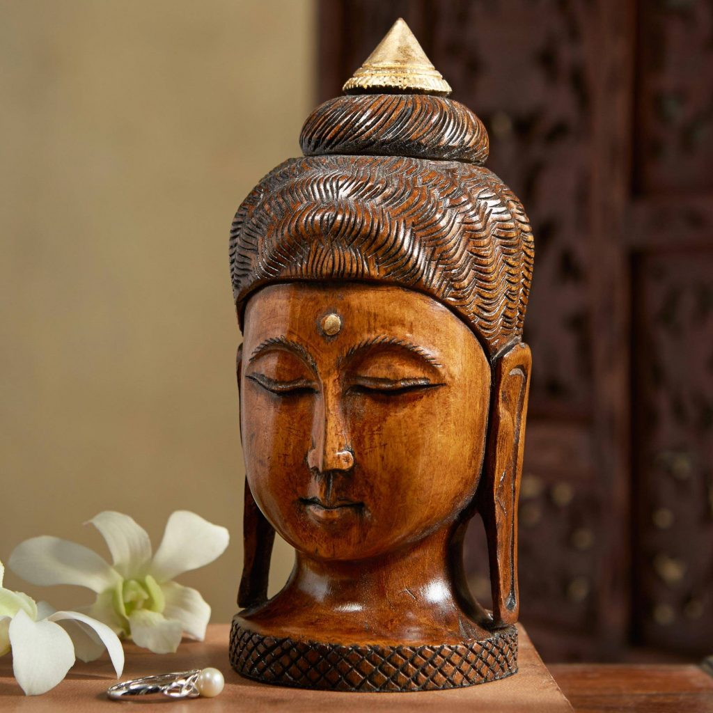 Kadam Buddha Sculpture Collectible Home Decor wood hand-painted gold circle Third Eye Collectible Sculpture