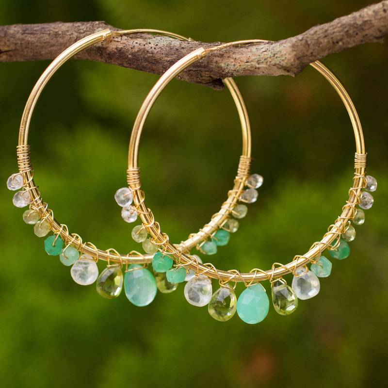 Spring Serenade Gold Plated Hoop Earrings with Assorted Green Gemstones new accessories