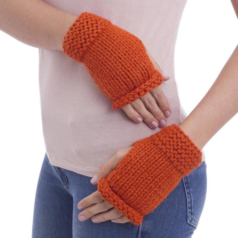 Ginger Orange Alpaca blend fingerless gloves new accessories
