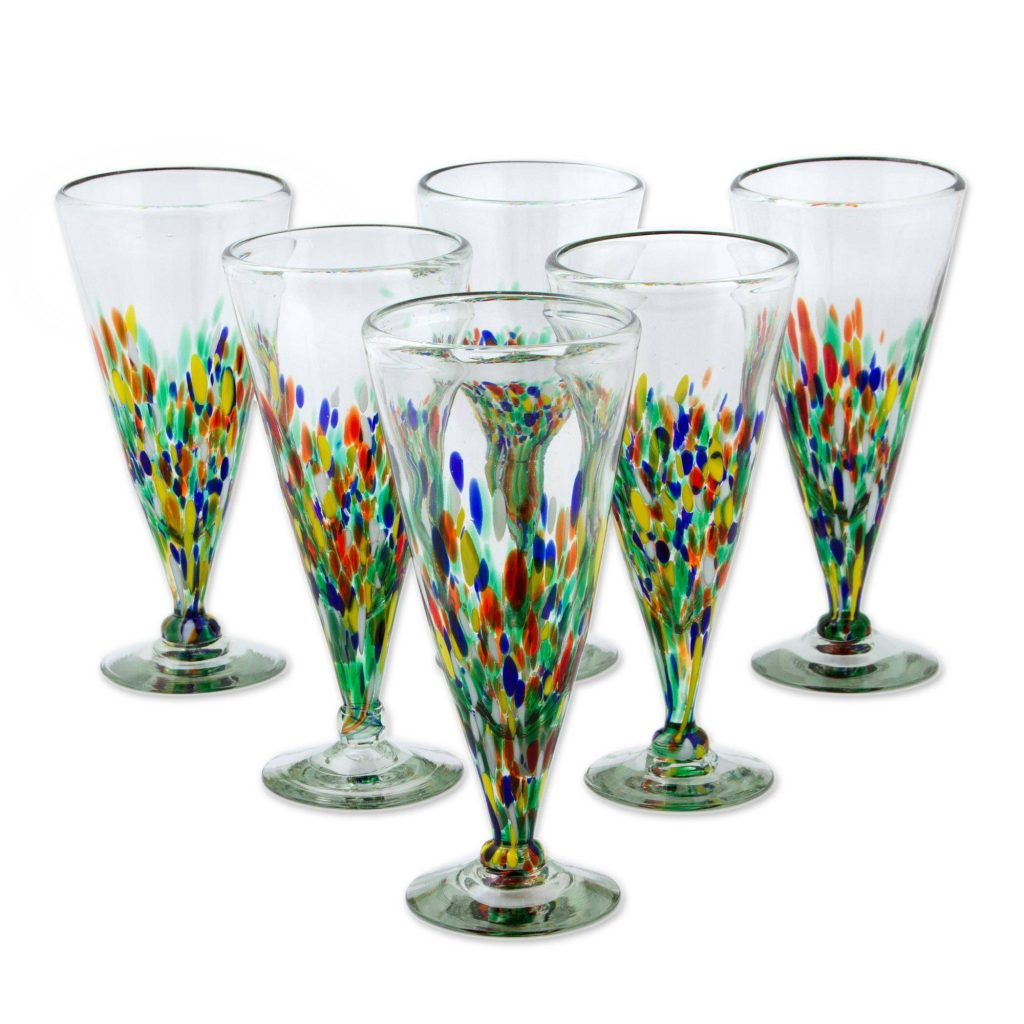 Multicolor Specks Artisan Crafted Handblown Glass Pilsner Cocktail Drinkware saint Patrick's Day