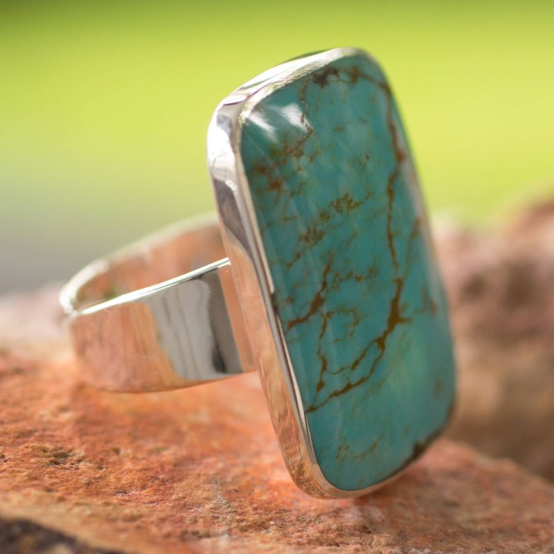 Caribbean Mosaic Handcrafted Natural Turquoise and Sterling Silver Wrap Ring special valentine's day gifts
