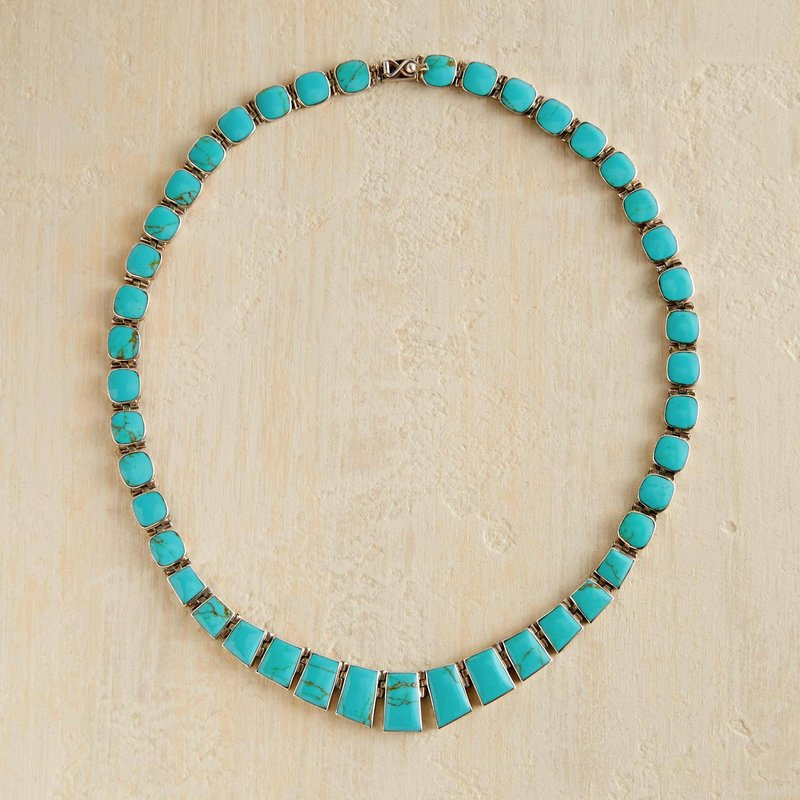 Turquoise Chilean Necklace 925 sterling silver box clasp new accessories