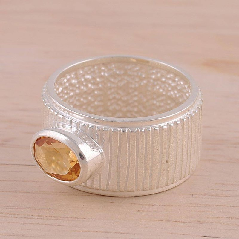 Graceful Contours Rhodium Plated Citrine Single Stone Ring from India new accessories