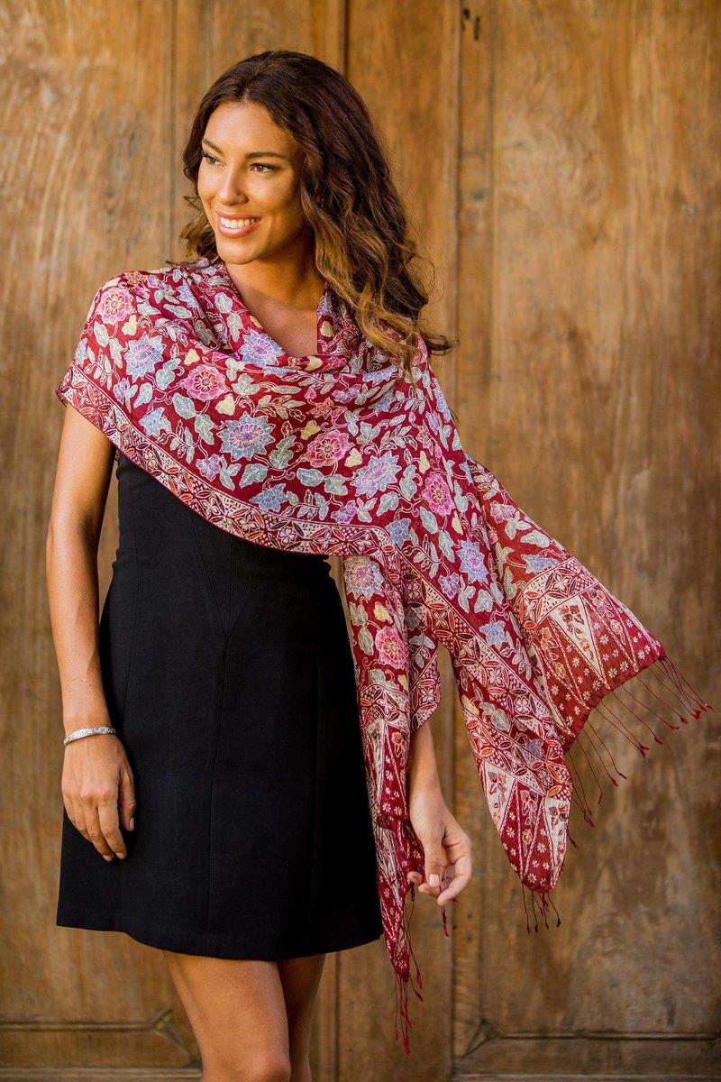 Artisan Crafted Batik Silk Shawl Wrap red wine garden new accessories