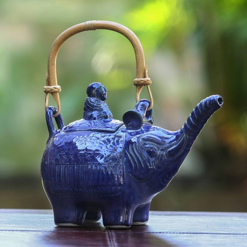 Buddha and Sapphire Elephant Handcrafted Ceramic Teapot small gift