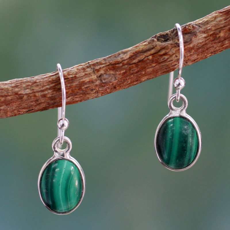 Verdant Paths sterling Silver and Malachite Earrings, jewelry, silver earrings small gift