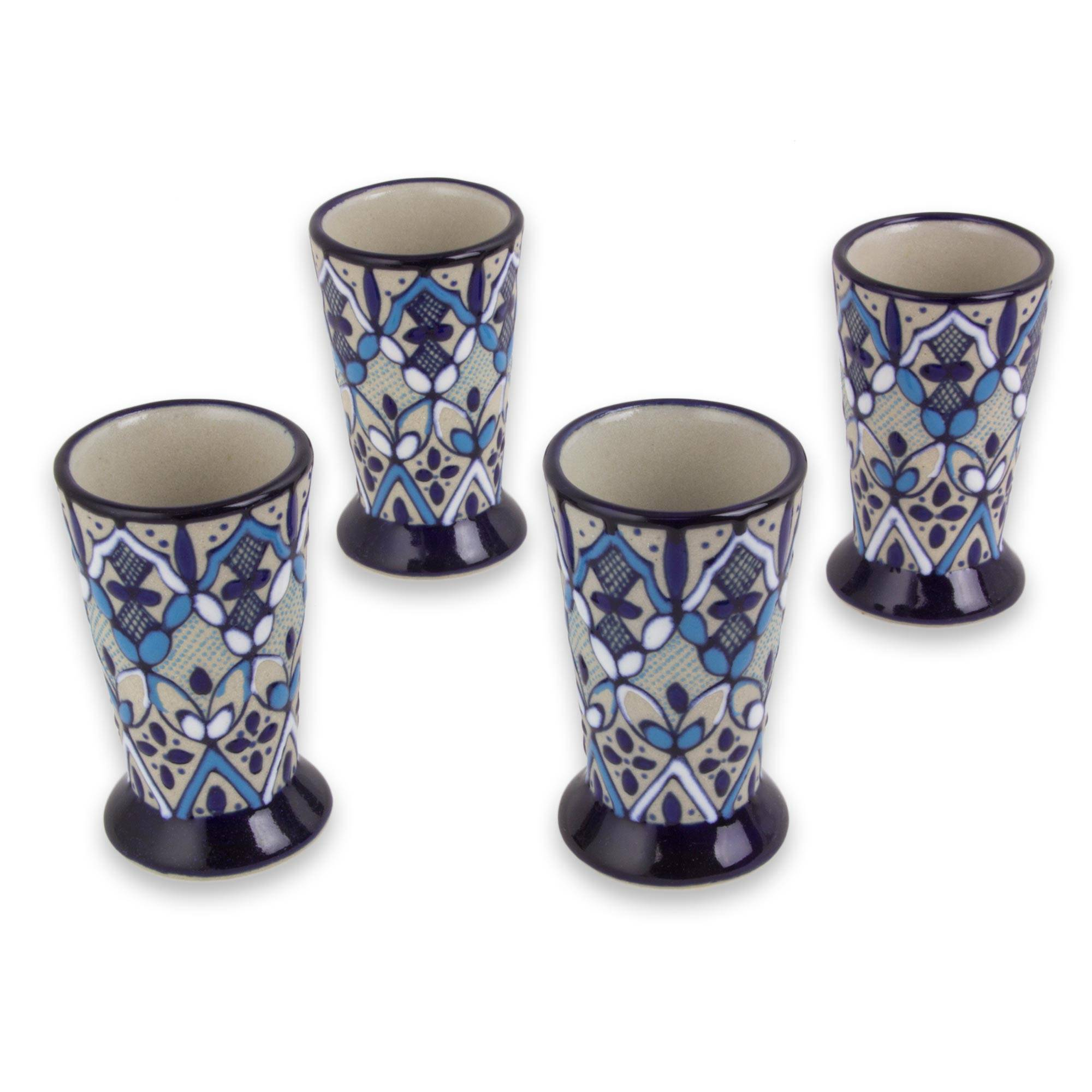 Blue Bajio Set of 4 Artisan Crafted Ceramic Tequila Shot Glasses small gift