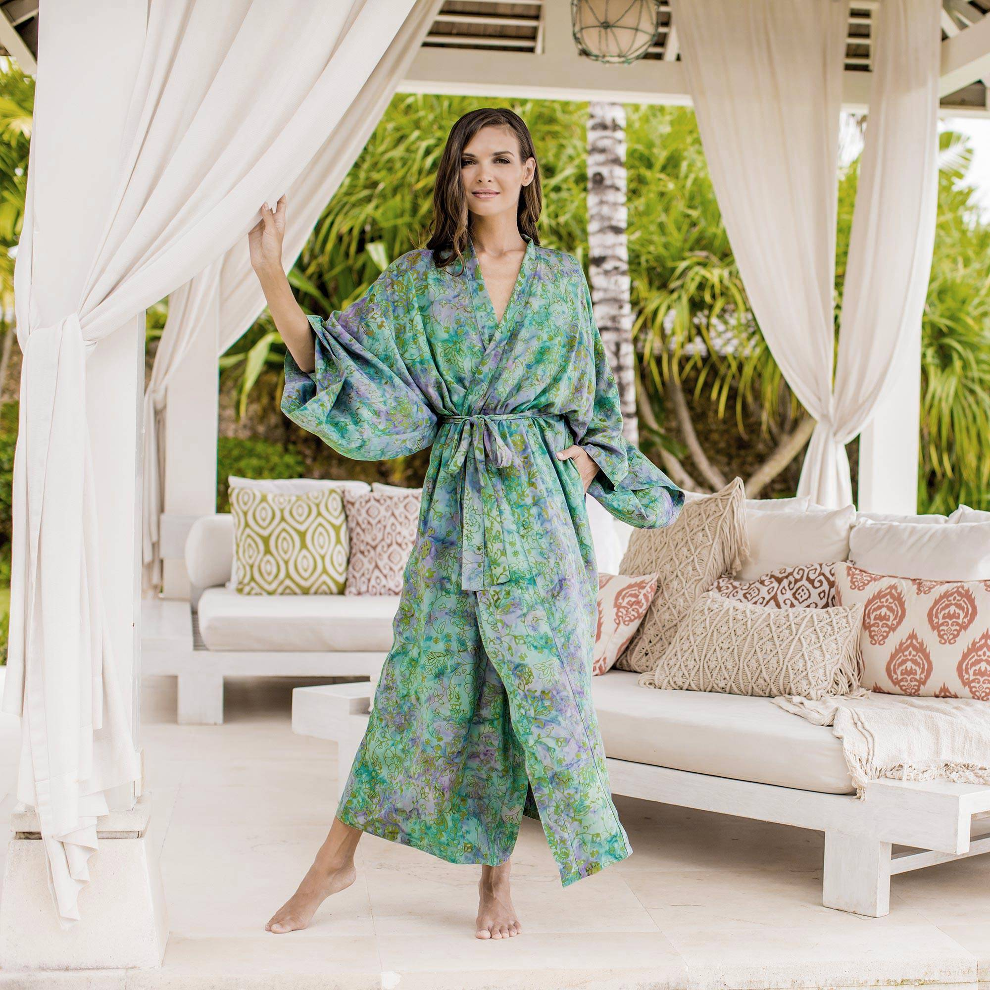 Misty Javanese Forest Artisan Crafted Batik Robe perfect mother's day gift ideas