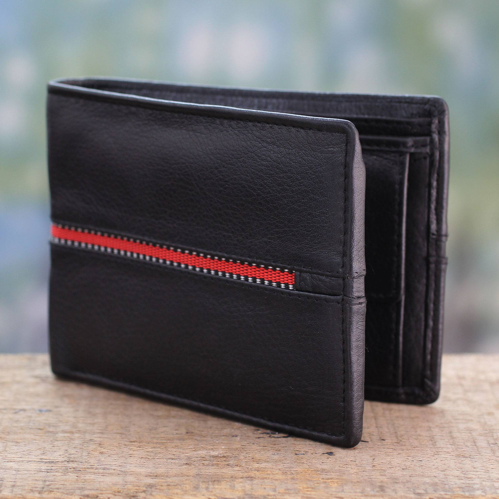 Suave in Red Black Leather Wallet for Men with Multiple Pockets small gift