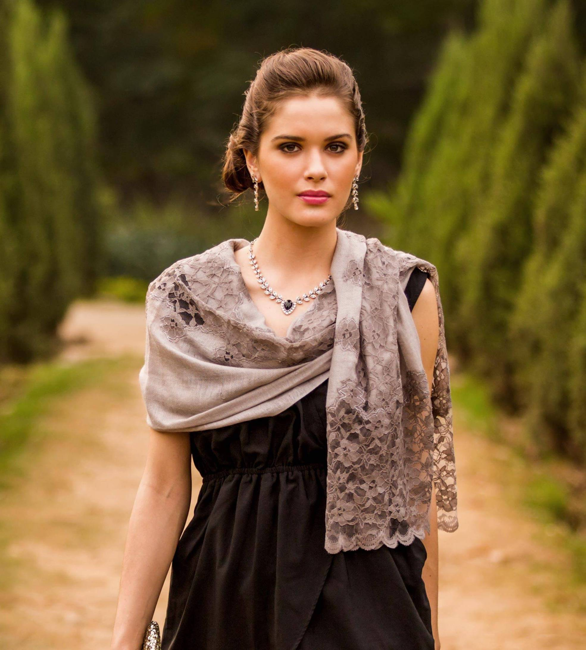 Infinite Kashmir Taupe Grey Wool Blend Shawl Trimmed with Floral Lace small gift