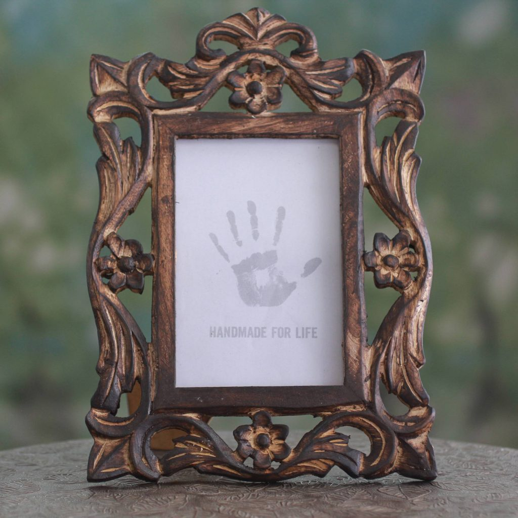 Carved Wood Photo Frame with Floral Motifs from India (4x6) Perfect Mother's Day GIft Ideas