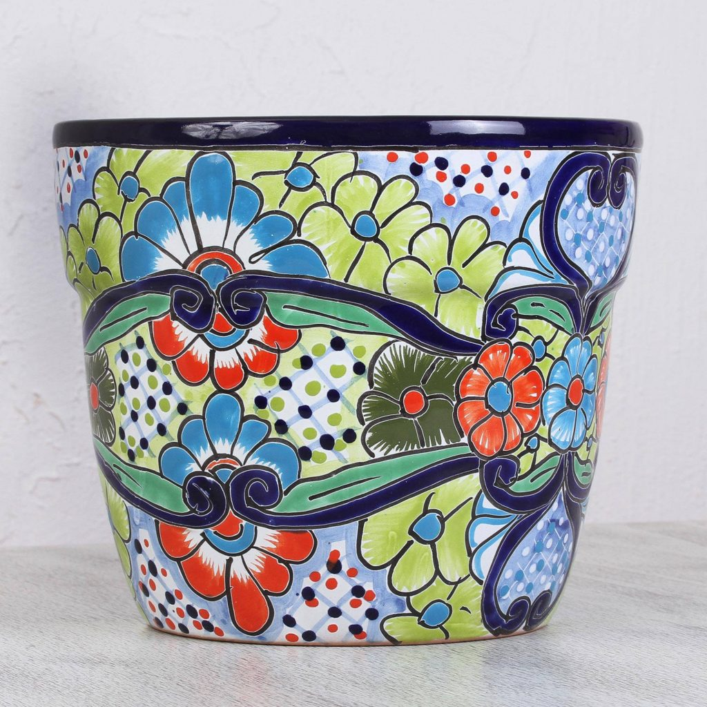 Joyous Garden Multi-Color Floral Motif Talavera-Style Ceramic Flower Pot Perfect Mother's Day Gift Ideas
