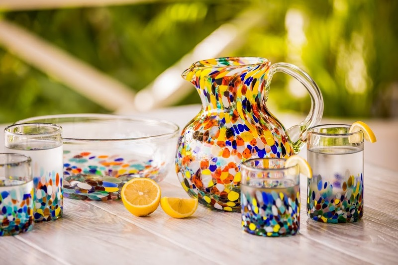 Hand Blown Glass Colorful Juice Glasses (Set of 6)