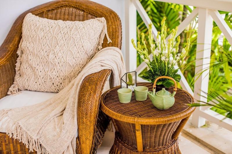 Pillows cushion covers throw blankets teapot tea service