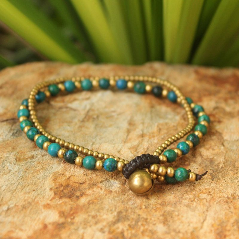 Dazzling Green Harmony Serpentine and Brass Beaded Bracelet spring accessories