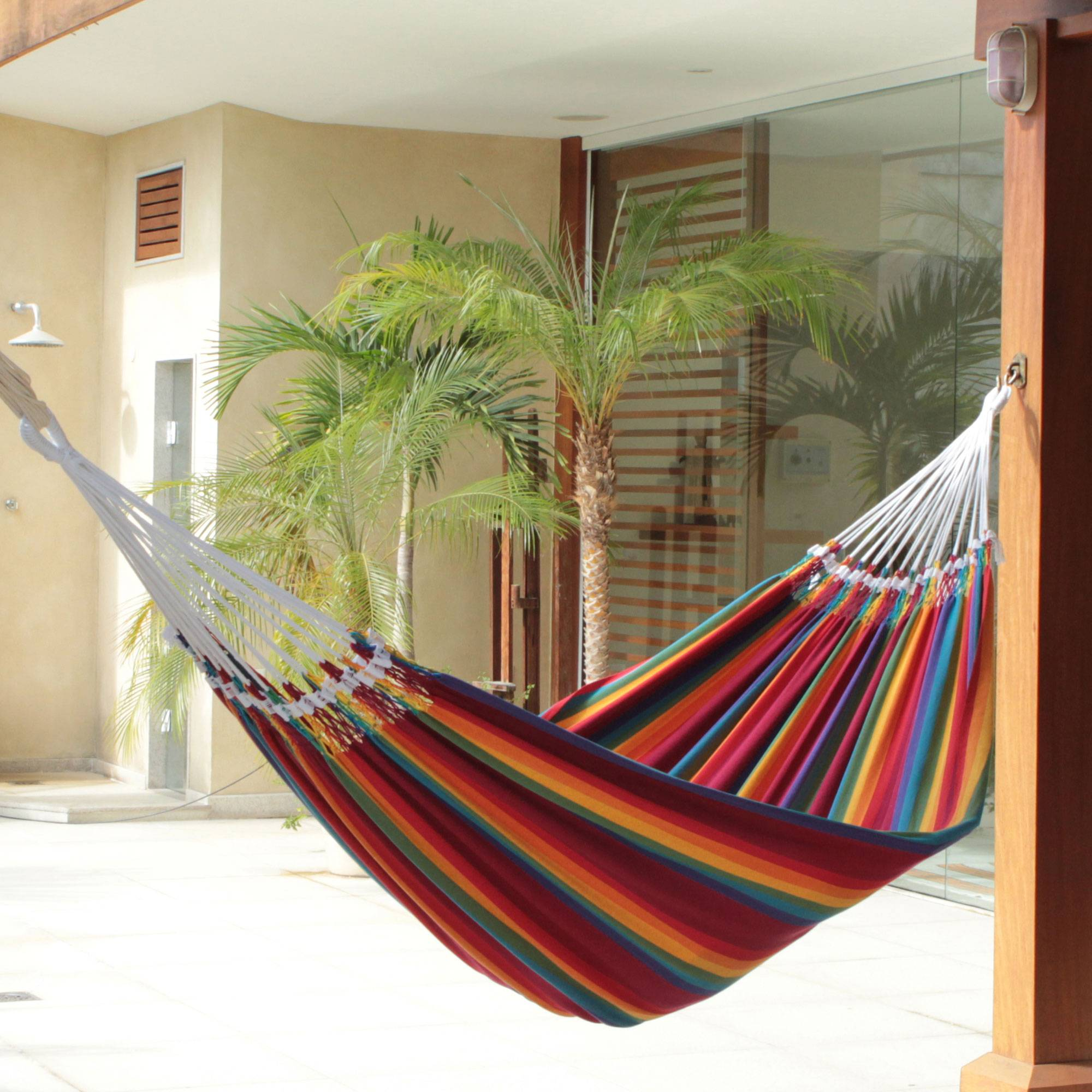 Brazilian Rainbow Cotton Striped Fabric Hammock (Double) Your Patio Space