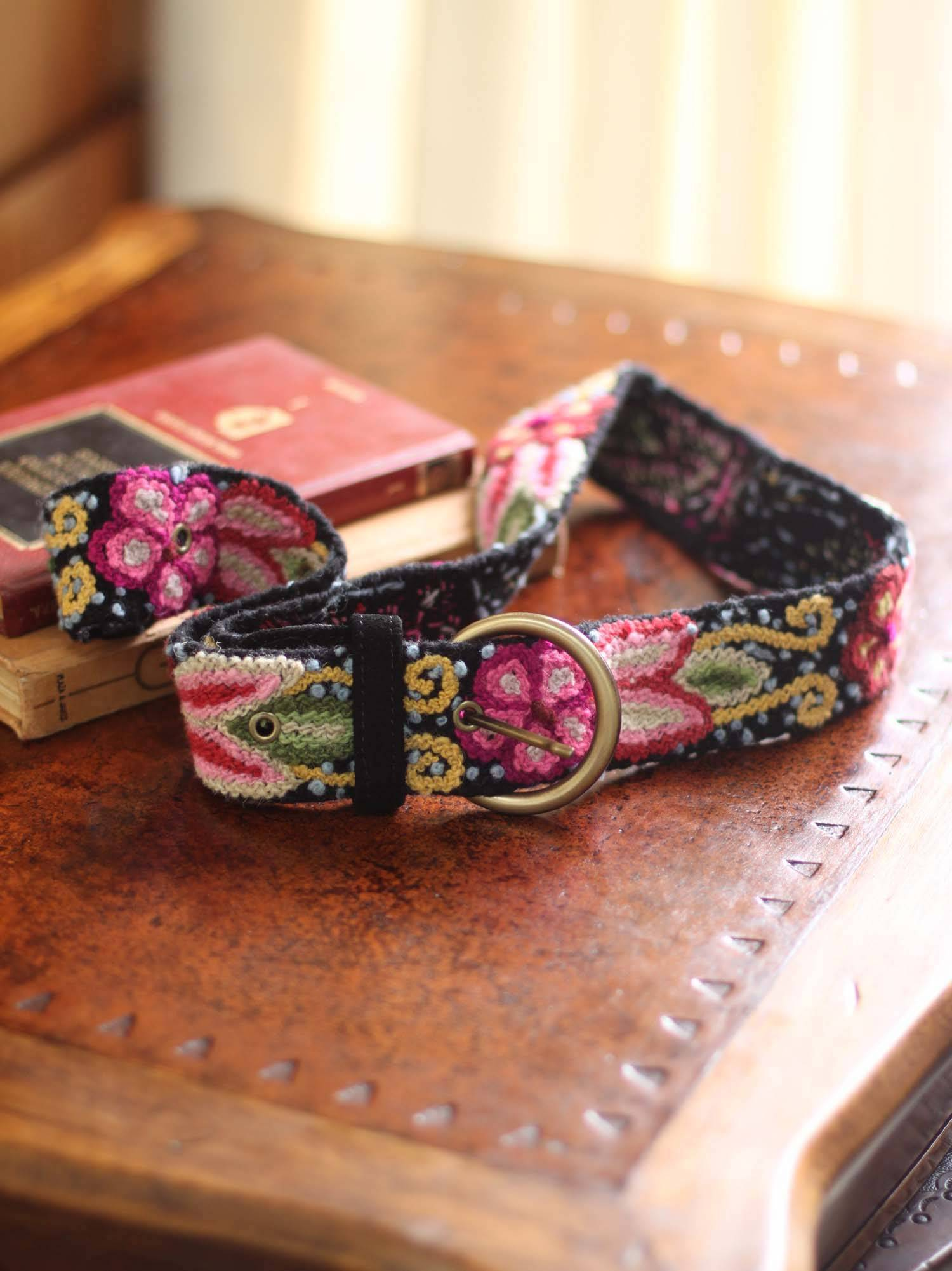 Festive Huanta Floral Wool Embroidered Natural Belt spring accessories