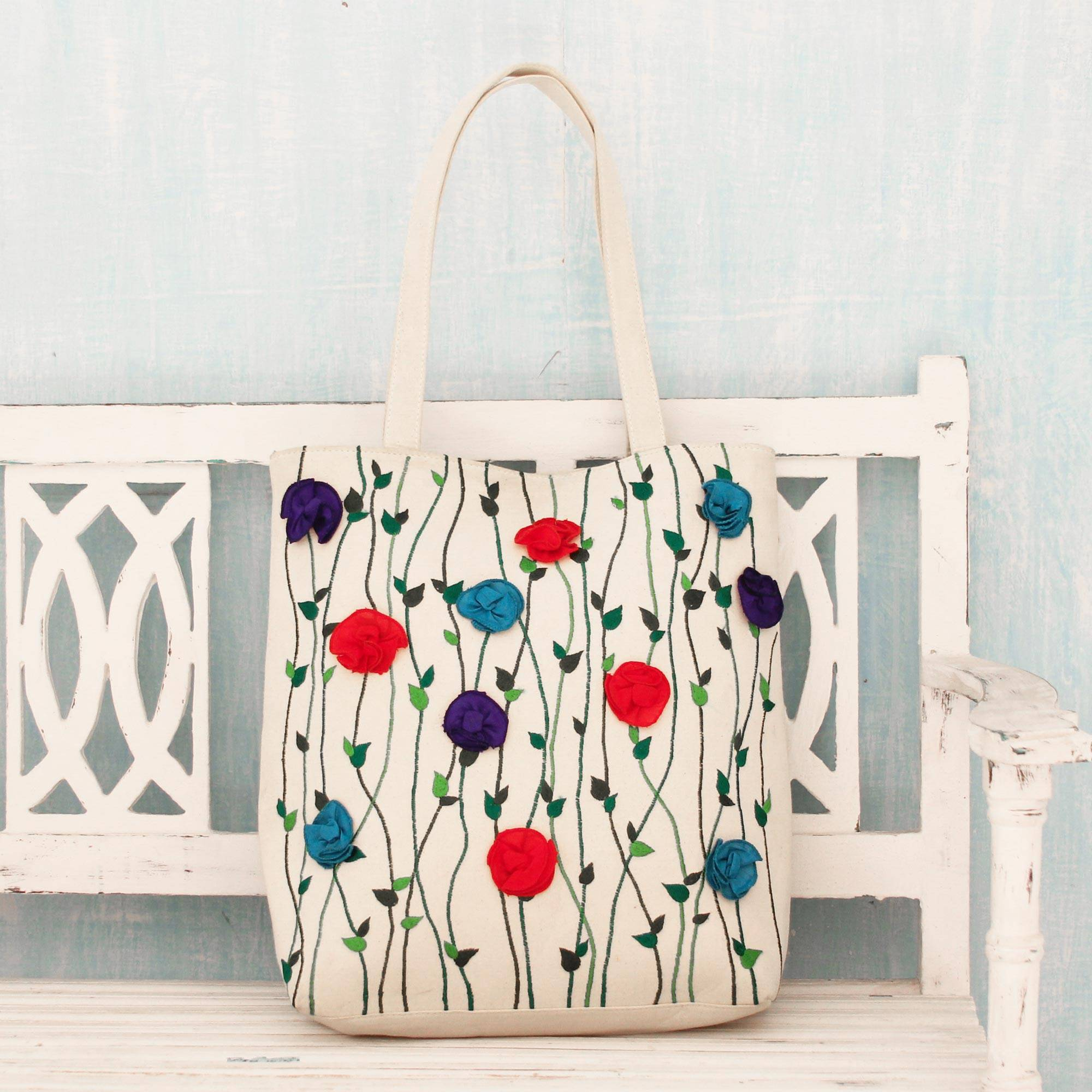 Garden Glamour Embroidered Floral Cotton Tote Handbag from India spring accessories