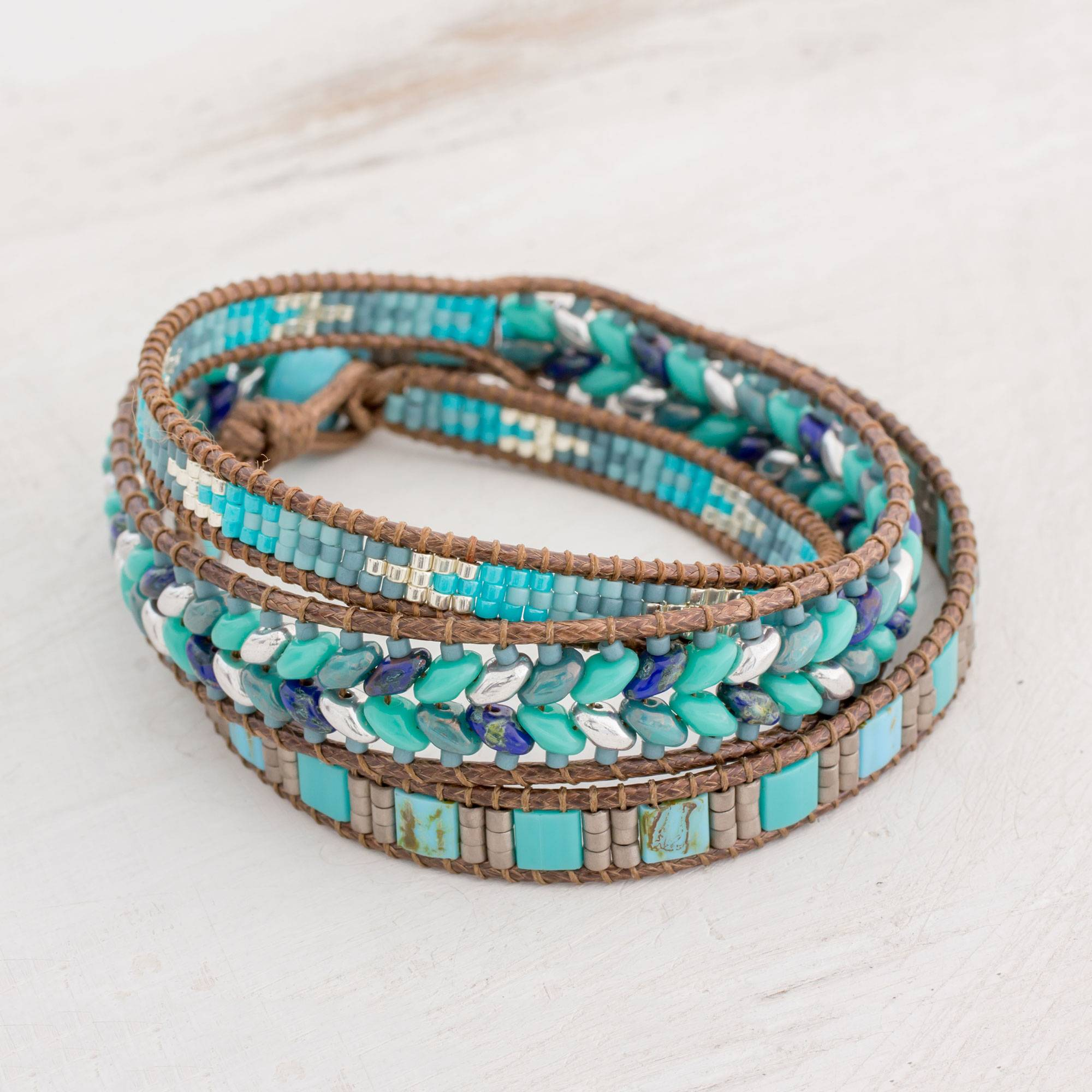 'Lines of Hope' Handmade Glass Beaded Wrap Bracelet in Blue from Guatemala spring accessories
