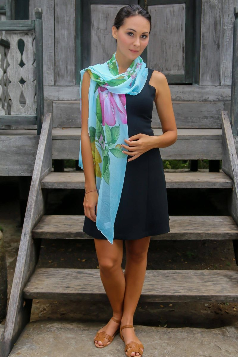 Breezy Bougainvillea Hand Painted Sky Blue Silk Shawl with Bougainvillea Flowers spring accessories