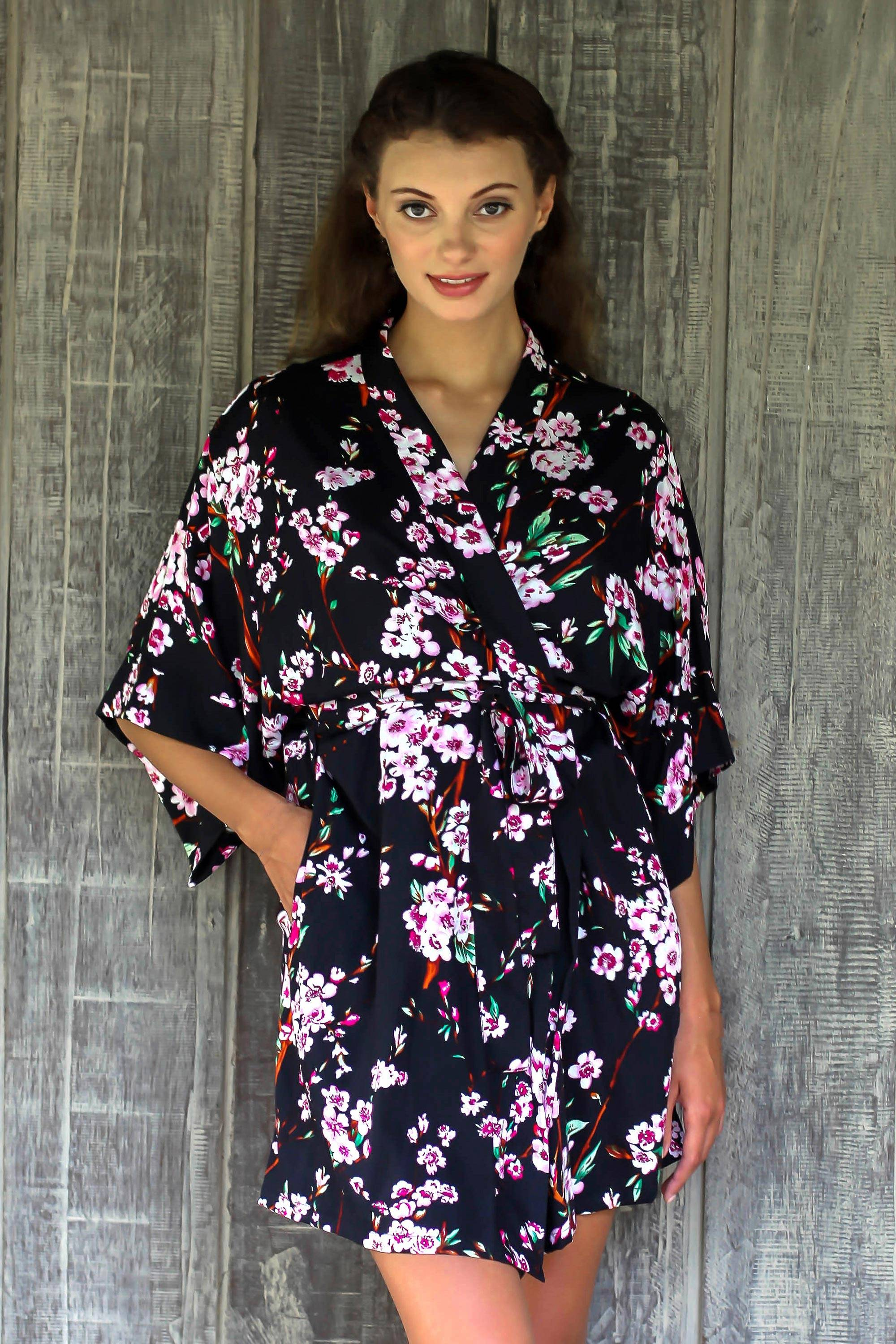 Spring Cherry Blossom Floral Rayon Robe in Black and Fuchsia from Indonesia Spring Accessories