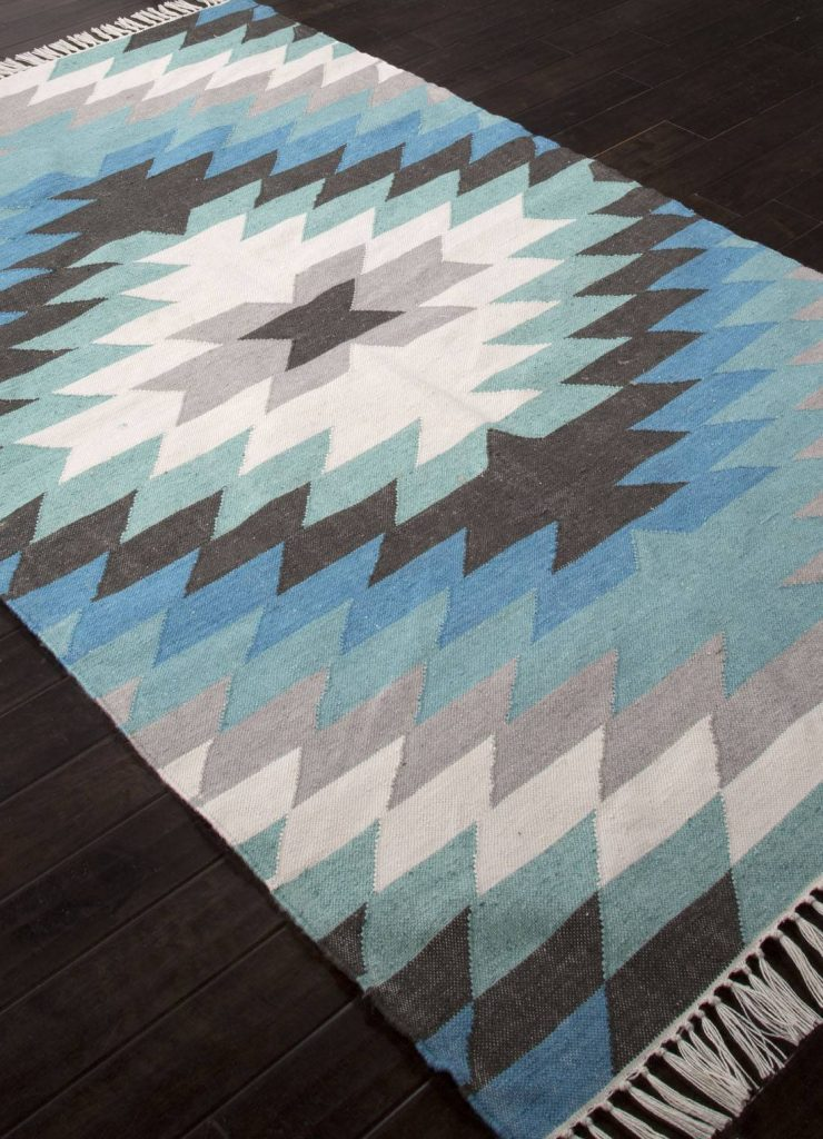 Disa Indoor-Outdoor Tribal Blue-Green Area Rug Your Patio Space