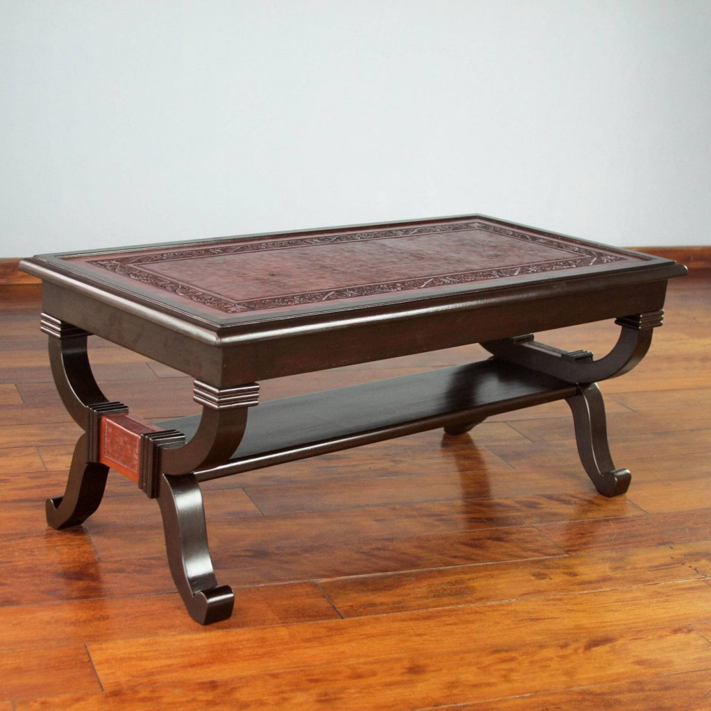 Fern Garland Hand Crafted Contemporary Wood Leather Coffee Table Making Your New House Feel Like Home