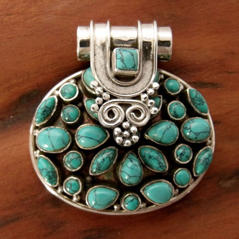 Indian Floral Sterling Silver Turquoise Colored Pendant, sterling silver pendant