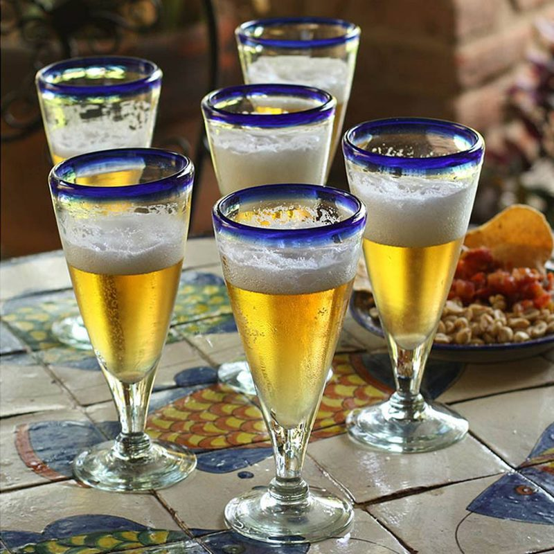 'Bohemia' Artisan Crafted Recycled Handblown Blue Rim Beer Glasses 4th of July party